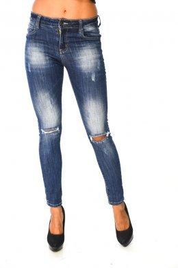Τζιν μπλε παντελόνι με τύπου ξεβάματα και σκισίματα στα γόνατα