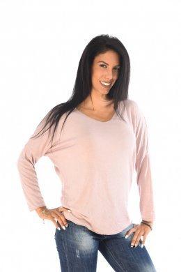 Φαρδιά μπλούζα με V λαιμόκοψη και λεπτομέρειες με ασημοκλωστή