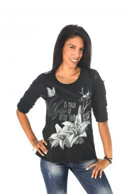 Μπλουζάκι με τύπωμα μπροστά και λεπτομέρειες στους ώμους
