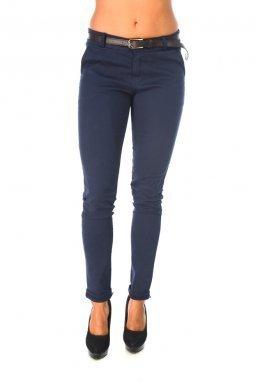 Μπλε υφασματινο παντελονι, με καφε ζωνακι στη μεση και τσεπακια