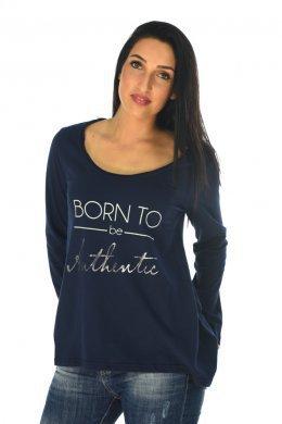 """Μπλουζάκι με τύπωμα """"BORN TO"""" και χαμόγελο στη λαιμόκοψη"""