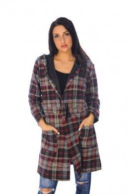 Καρό μακριά ζακέτα τύπου παλτό, με κούμπωμα και κουκούλα