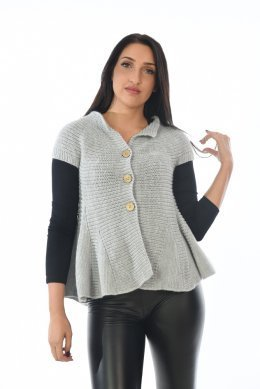 Μπλούζα-πανωφόρι πλεκτή με κουμπάκια στο μπούστο, φαρδιά