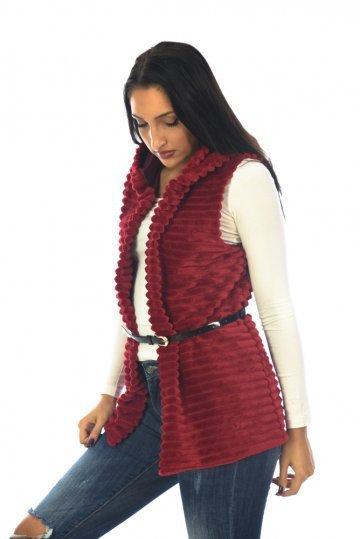 Γουνάκι αμάνικο τύπου ριγέ με κουκούλα και ζωνάκι στη μέση - ERG Fashion 1104427947a