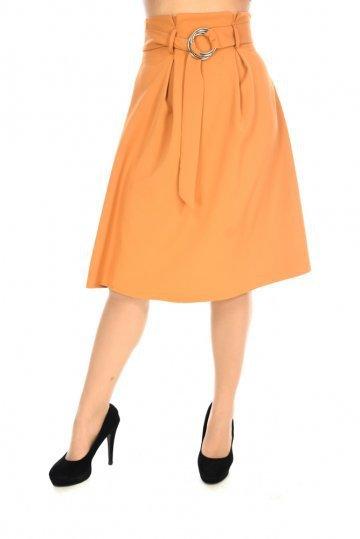 Μουσταρδί φαρδιά φούστα σε άλφα γραμμή με ζωνάκι στη μέση και πένσες ... 87eeda0e10e