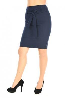 Μπλε ψηλόμεση φούστα γραφείου με ζώνη στη μέση και σκίσιμο