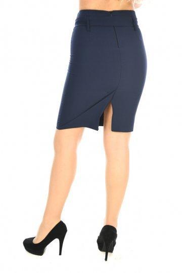 Μπλε ψηλόμεση φούστα γραφείου με ζώνη στη μέση και σκίσιμο - ERG Fashion 101bc60f367