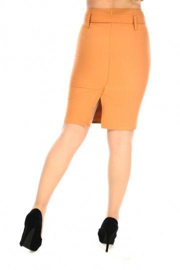 Μουσταρδί ψηλόμεση φούστα γραφείου με ζώνη στη μέση και σκίσιμο. Προσφορά! 262119203d6