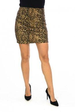 Λεοπάρ mini φούστα εφαρμοστή, με φερμουάρ πίσω