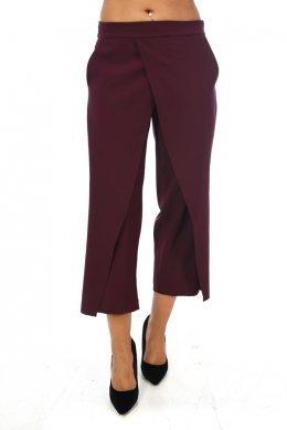 Μπορντό παντελόνα τύπου ζιπ κιλοτ με κρουαζέ λεπτομέριες