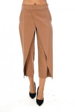 Camel παντελόνα τύπου ζιπ κιλοτ με κρουαζέ λεπτομέριες