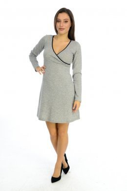 Μεσάτο φόρεμα με κρουαζέ μπούστο και λεπτομέρειες από δερματίνη