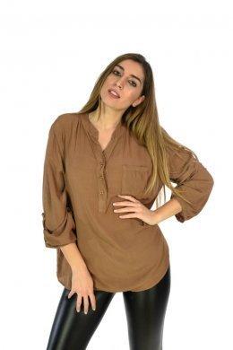 Μονόχρωμο φαρδύ πουκάμισο μακρυμάνικο με τσεπάκι μπροστά