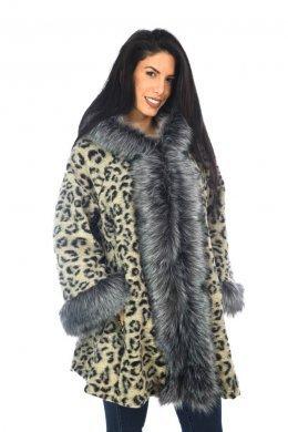 Λεοπάρ oversized παλτό με γουνινες λεπτομέρειες και κουκούλα