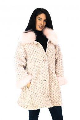 Oversized μάλλινο παλτό με γούνινες λεπτομέρειες και τσεπάκια