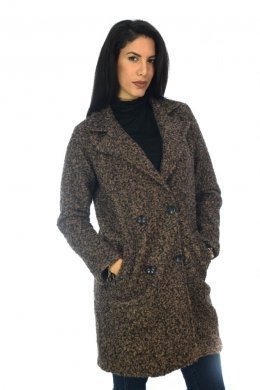 Μάλλινο παλτό σε ίσια γραμμή, με γιακαδες και τσεπάκια μπροστά