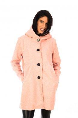 Μάλλινο φαρδύ παλτό με μεγάλη κουκούλα και τσεπάκια μπροστά