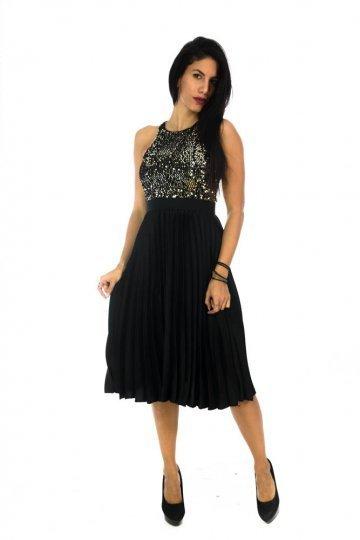 Midi βραδινό φόρεμα με χρυσές παγέτες και μαύρο πλισέ σχέδιο - ERG ... ef7a21475d5
