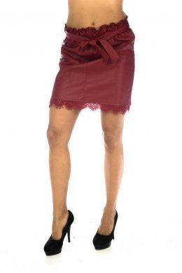 Δερμάτινη φούστα κοντή με ζωνάκι και δαντελωτές λεπτομέρειες