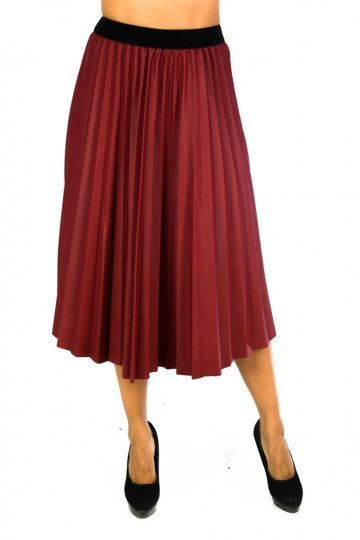 Δερμάτινη midi πλισέ φούστα σε τύπου άλφα γραμμή - ERG Fashion 96d2b9966f3