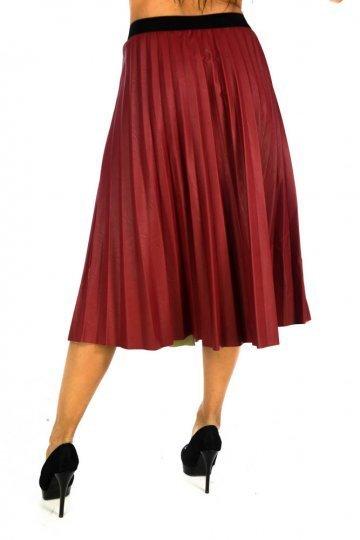 Δερμάτινη midi πλισέ φούστα σε τύπου άλφα γραμμή - ERG Fashion a459d4c4661
