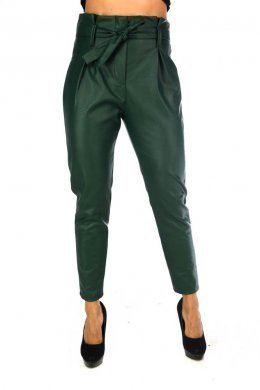 Δερμάτινο ψηλόμεσο μακρύ παντελόνι, με πιέτες και ζωνάκι στη μέση