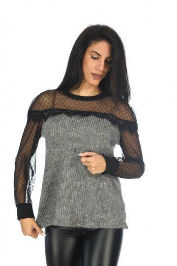 Τύπου μάλλινη μπλούζα με ημιδιαφάνεια στους ώμους και στα χέρια