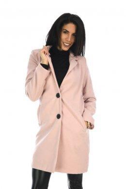 Ροζ μάλλινο παλτό σε ίσια γραμμή με κουμπάκια μπροστά