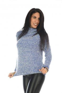 Τριχωτό γυναικείο πουλόβερ ζιβάγκο, μακρυμάνικο, μονόχρωμο
