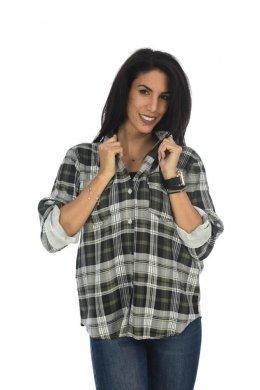 Μακρυμάνικο καρό πουκάμισο, με κουμπάκια και τσέπες στο μπούστο