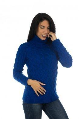 Μπλούζα πλεκτή μακρυμάνικη ζιβάγκο, με ανάγλυφες λεπτομέρειες