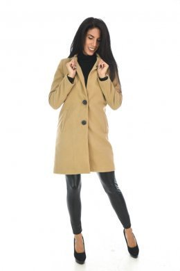 Μαύρο μάλλινο παλτό σε ίσια γραμμή με κουμπάκια μπροστά και φαρδιές τσέπες