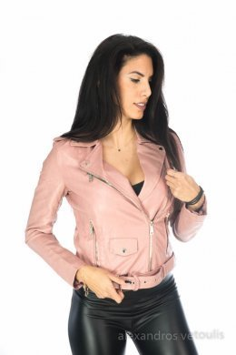 Ροζ δερμάτινο jacket κοντό με ζωνάκι στη μέση
