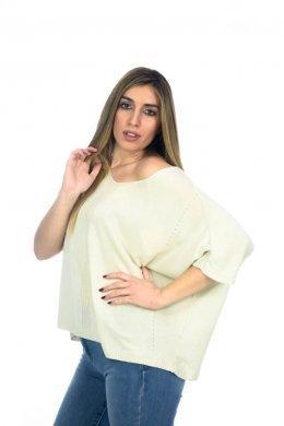 Μπλούζα φαρδιά κοντή με ελαφριά πλέξη