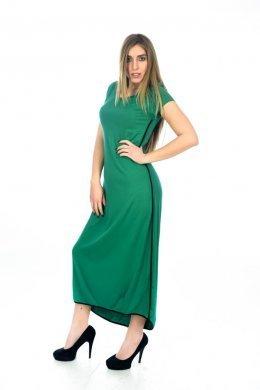 Midi κοντομάνικο φόρεμα με ρίγα στα πλάγια και ασύμμετρο τελείωμα