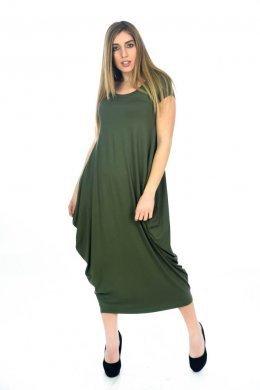 Φόρεμα κοντομάνικο πολύ φαρδύ, με τσέπες