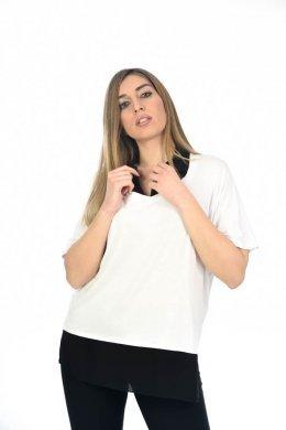 Φαρδιά μπλούζα με τύπου μονόχρωμο πουκάμισο στο εσωτερικό