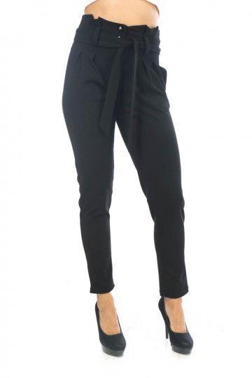 Μαύρο ψηλόμεσο μακρύ παντελόνι, με τσεπάκια και ζωνάκι στη μέση.