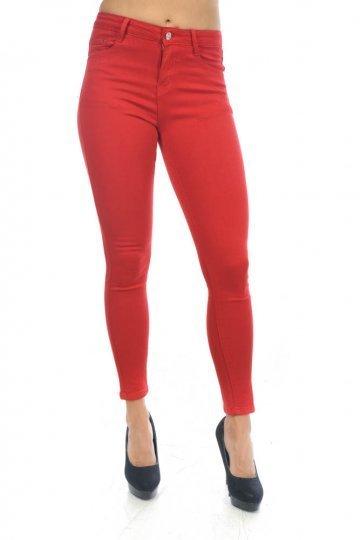 Κόκκινο πεντάτσεπο παντελόνι τύπου τζιν, μονόχρωμο.