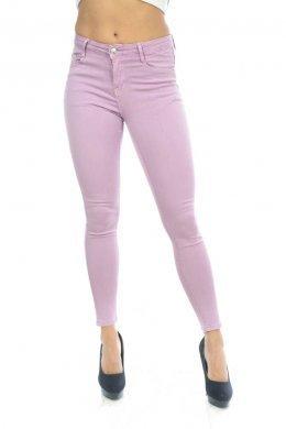 Λιλά πεντάτσεπο παντελόνι τύπου τζιν, μονόχρωμο
