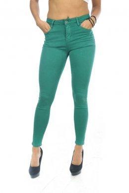 Πράσινο πεντάτσεπο παντελόνι τύπου τζιν, μονόχρωμο