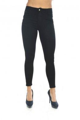 Μαύρο πεντάτσεπο παντελόνι τύπου τζιν, μονόχρωμο.