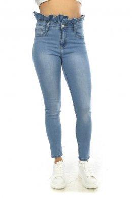 Τζιν παντελόνι ψηλόμεσο με πιέτες, τύπου βολάν στη μέση και τσεπάκια