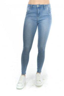 Τζιν μπλε παντελόνι ψηλόμεσο με λεπτομέρειες πίσω στη μέση