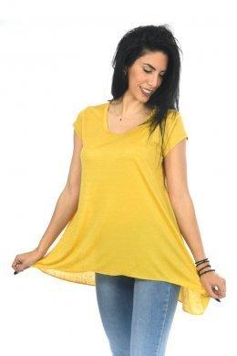 Μονόχρωμη κοντομάνικη μπλούζα με χαμόγελο ασύμμετρη
