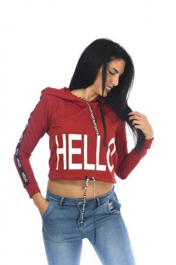 """Κόκκινο μπλουζάκι τύπου κοντό φούτερ με τύπωμα """"HELLO"""" μπροστά και κουκούλα"""