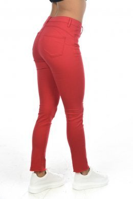 Κόκκινο τύπου υφασμάτινο παντελόνι πεντάτσεπο, μονόχρωμο