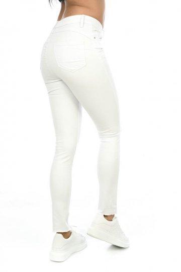 Λευκό τύπου υφασμάτινο παντελόνι πεντάτσεπο, μονόχρωμο