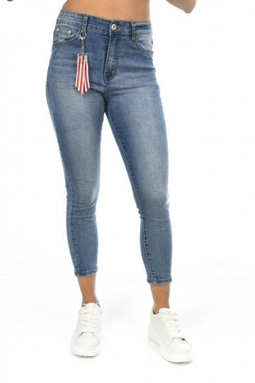 Τζιν μπλε παντελόνι ψηλόμεσο με λεπτομέρεια με φουντίτσα