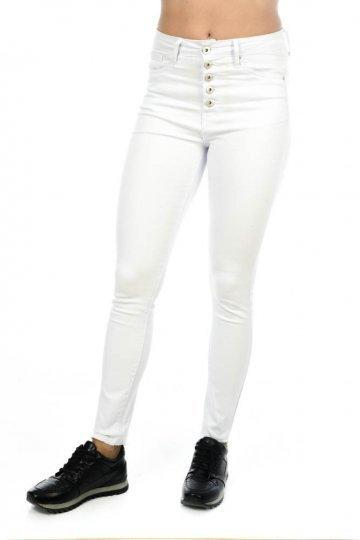 Λευκό ψηλόμεσο παντελόνι τύπου τζιν με πέντε κουμπάκια